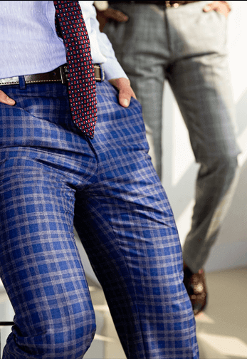 In love with checks this season!! We too..flat front trousers in blue & grey