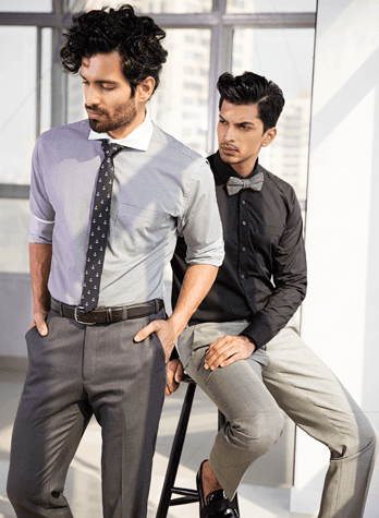 Shades of Grey!! flat front slim fit trousers paired with grey banker's shirt & solid black shirt