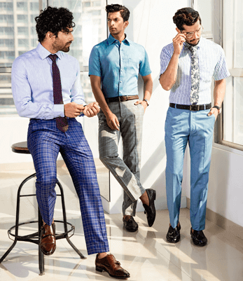 Colored checks over blues and greys for modern formals.