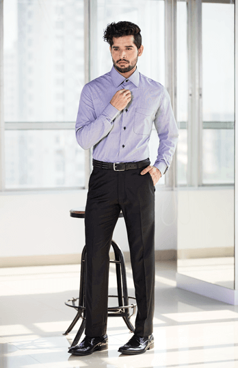 Can't go wrong with Black.. classic flat front trousers paired with Purple Cotton shirt with contrast stitch