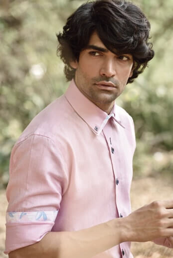 Details Make All the Difference!! Pink Shirt Stylised with Contrast cuff, Double Collar & French Placket