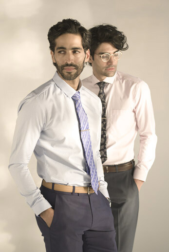 Classic Formals!! Self patterned shirt in blue with cutaway collar & Self striped pink shirt with cutaway collar