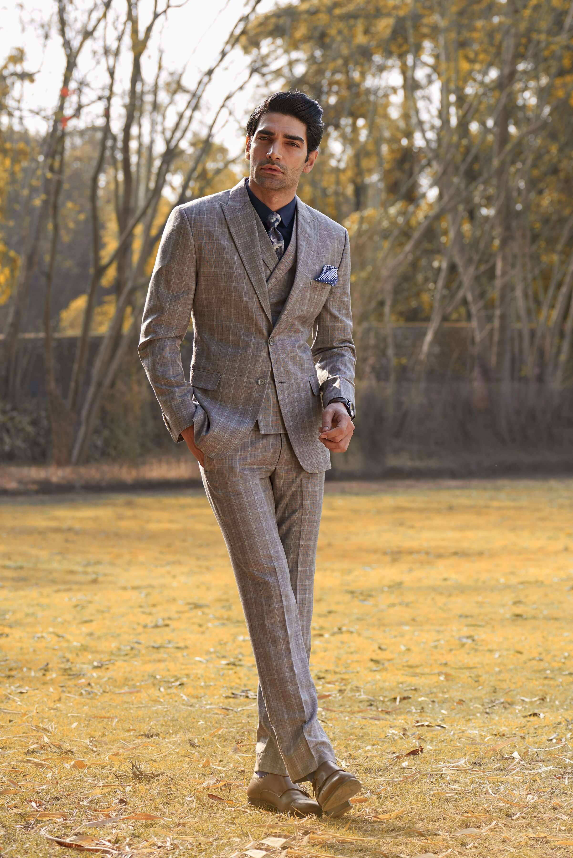 Classic 2 Button Jacket in check Fabric