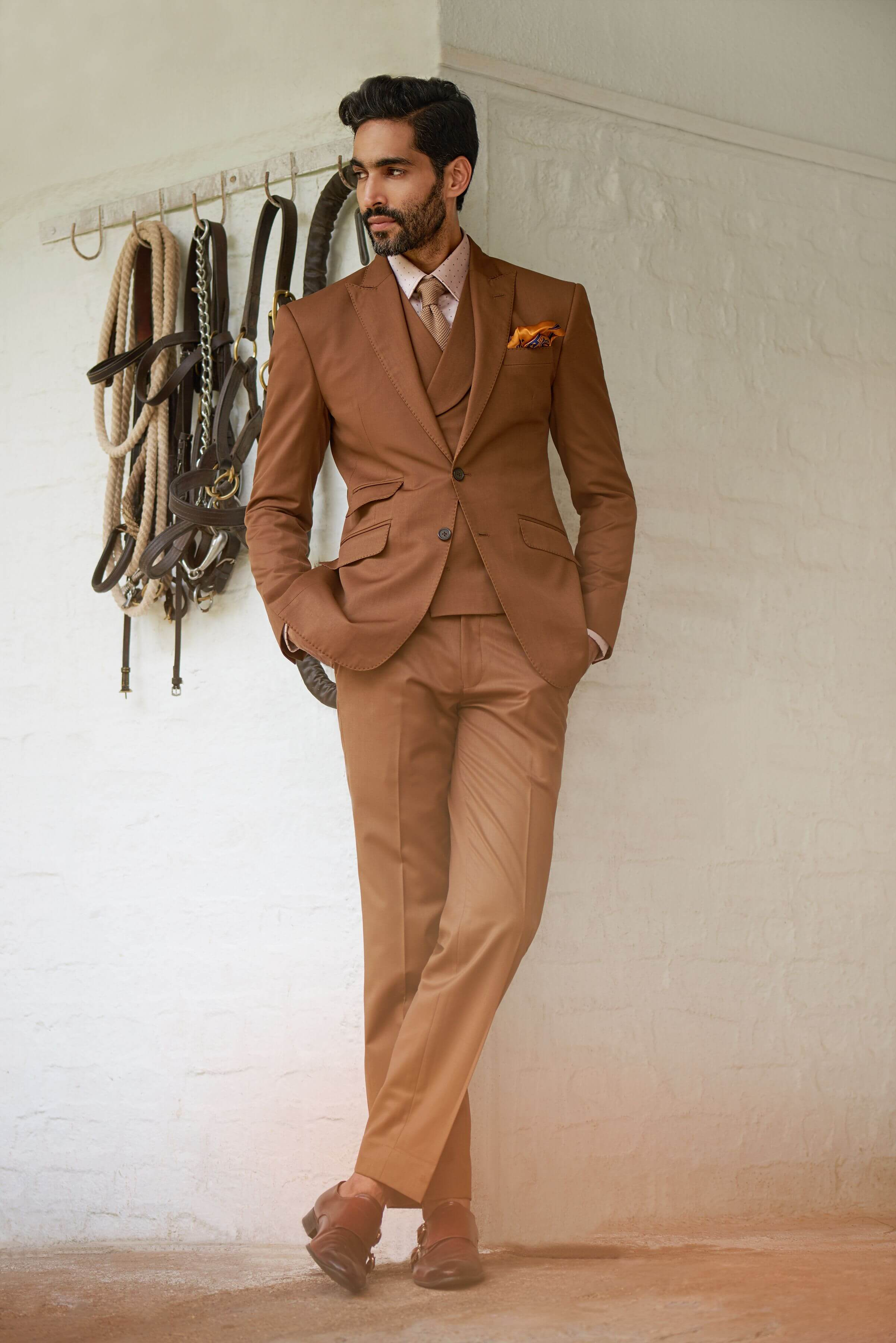 Classic two-button, single-breasted suit with a peak lapel.