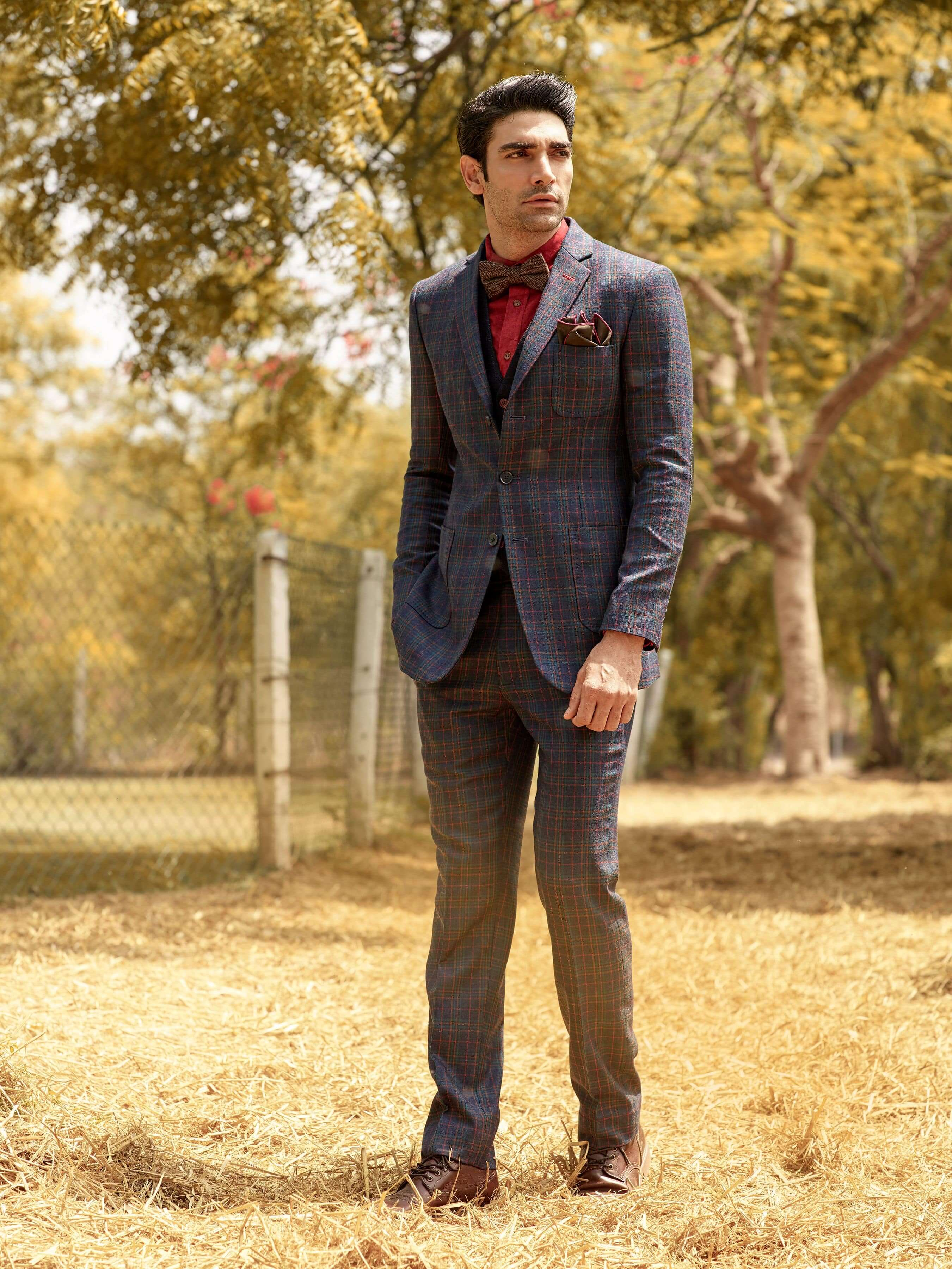 Classic two-button, single-breasted suit with a notch lapel.